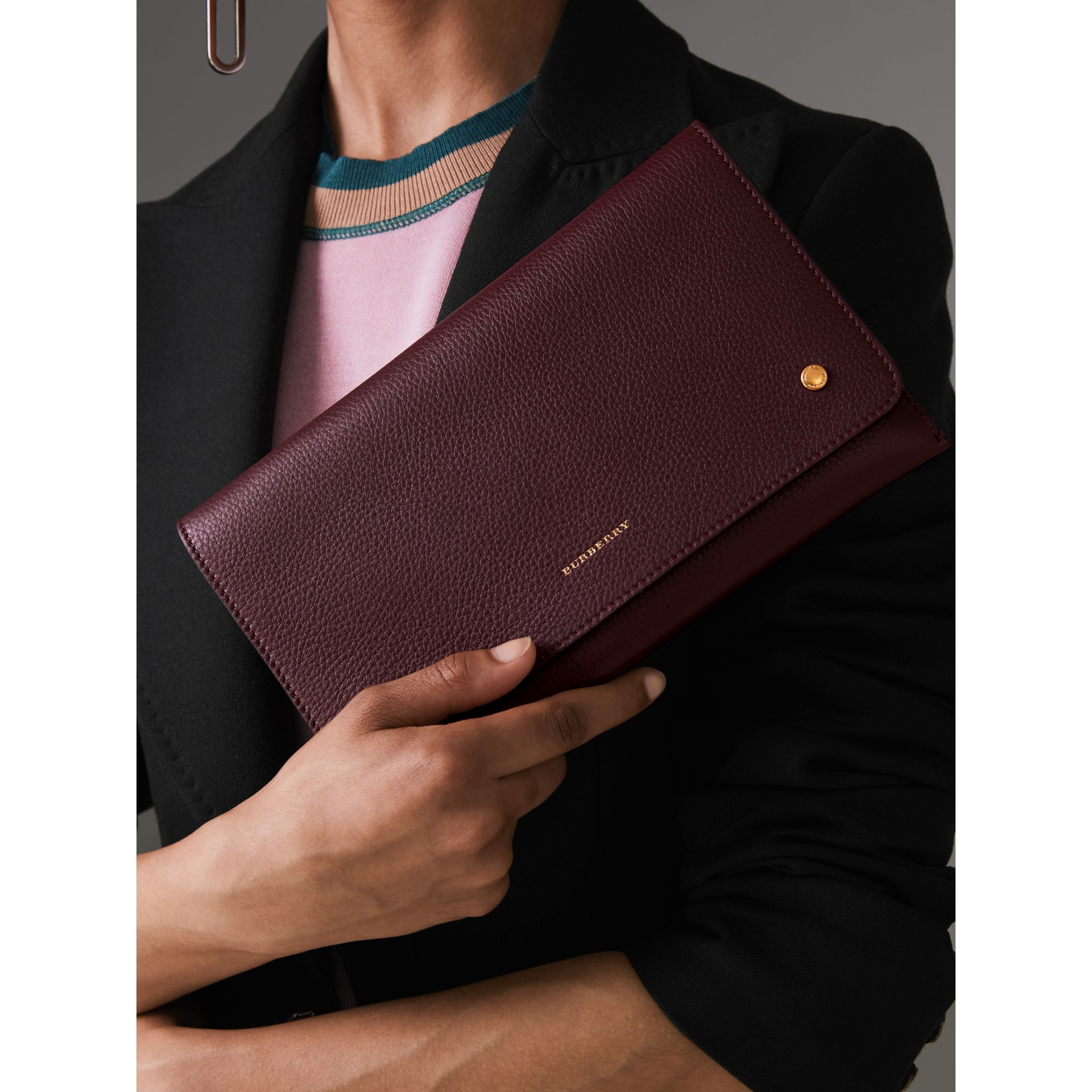 Two-tone Leather Wristlet Clutch in Deep Claret - Women | Burberry - gallery image 3