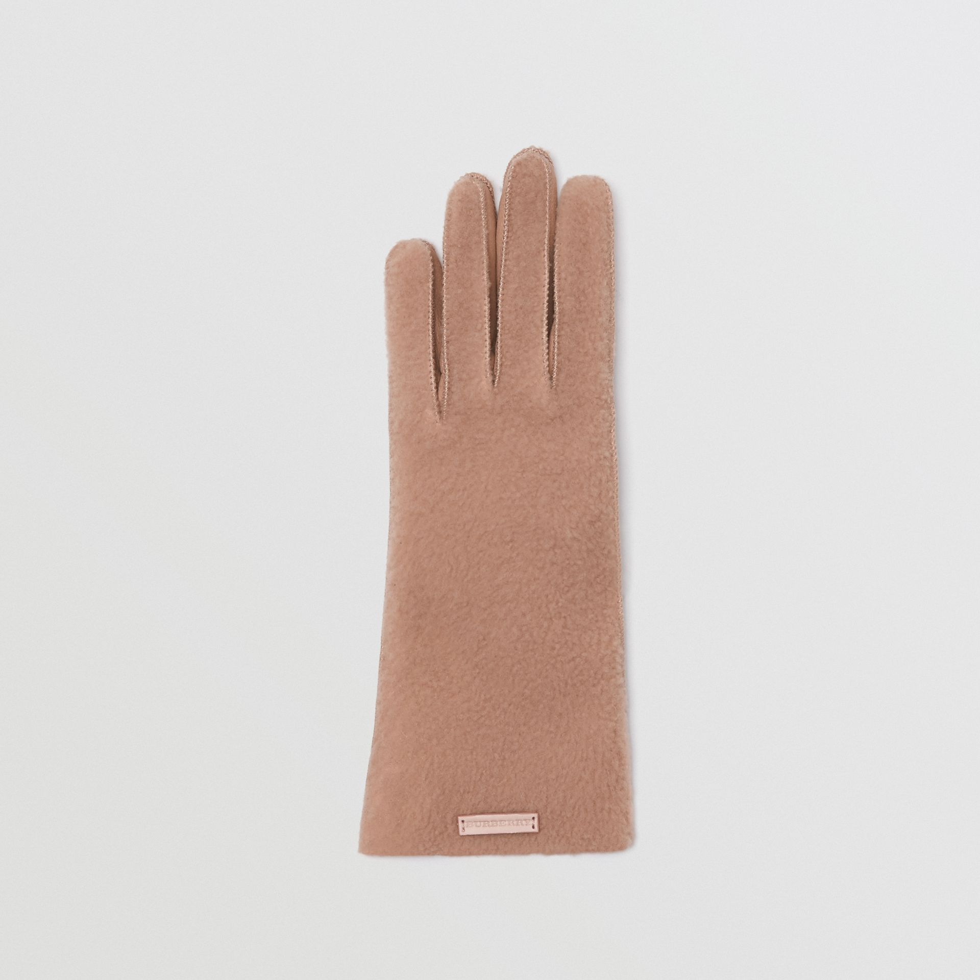 Shearling and Leather Gloves in Dusty Pink - Women | Burberry United Kingdom - gallery image 3