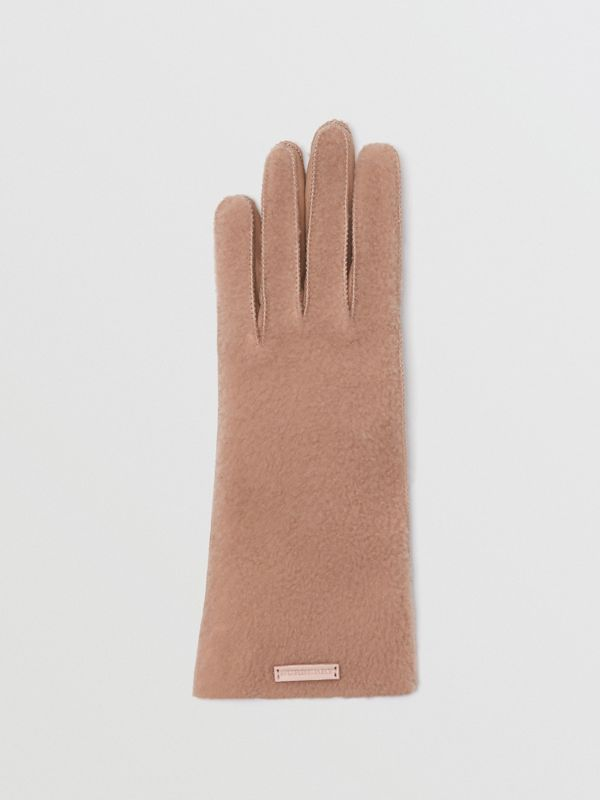 Shearling and Leather Gloves in Dusty Pink - Women | Burberry - cell image 3