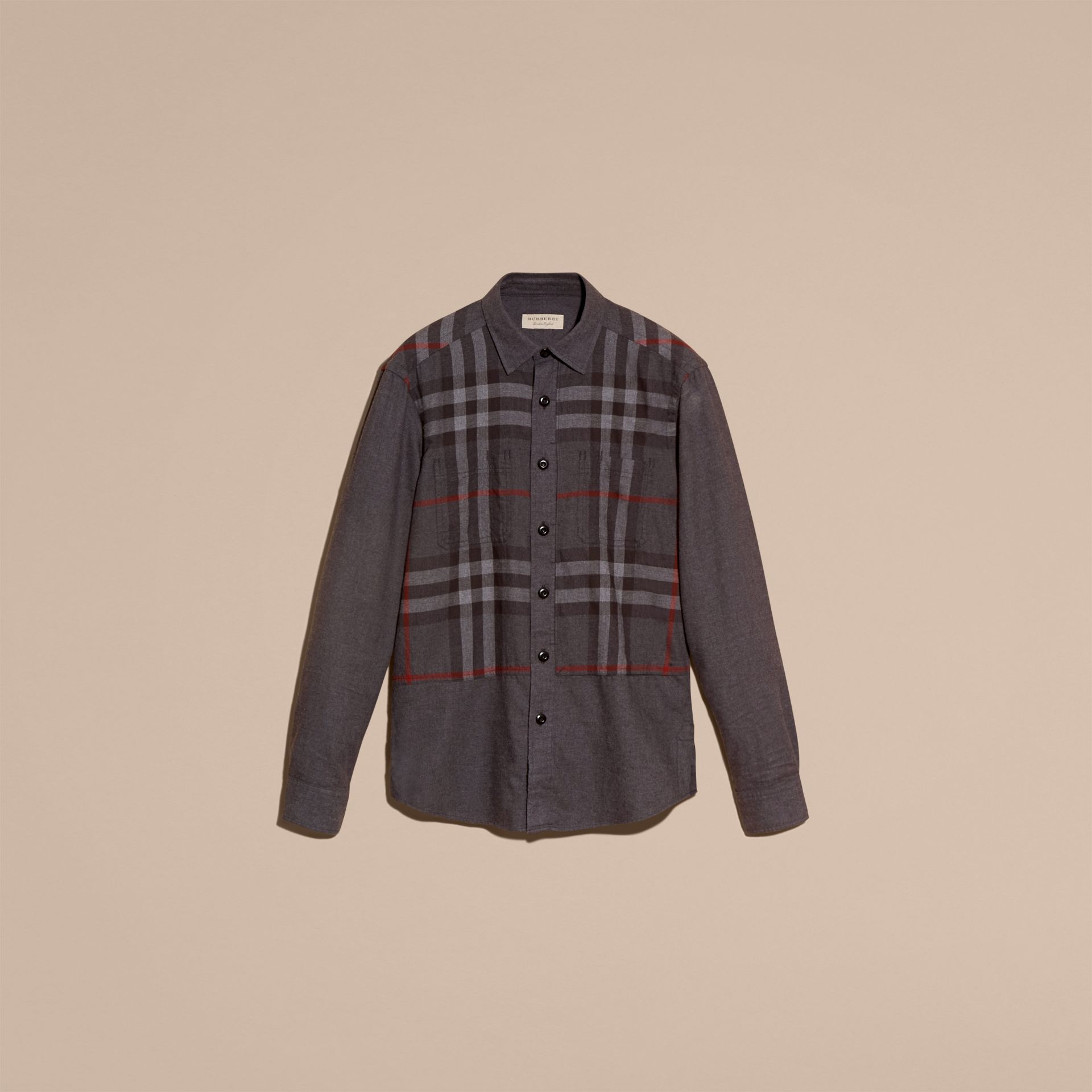Charcoal melange Check Detail Cotton Flannel Shirt Charcoal Melange - gallery image 4