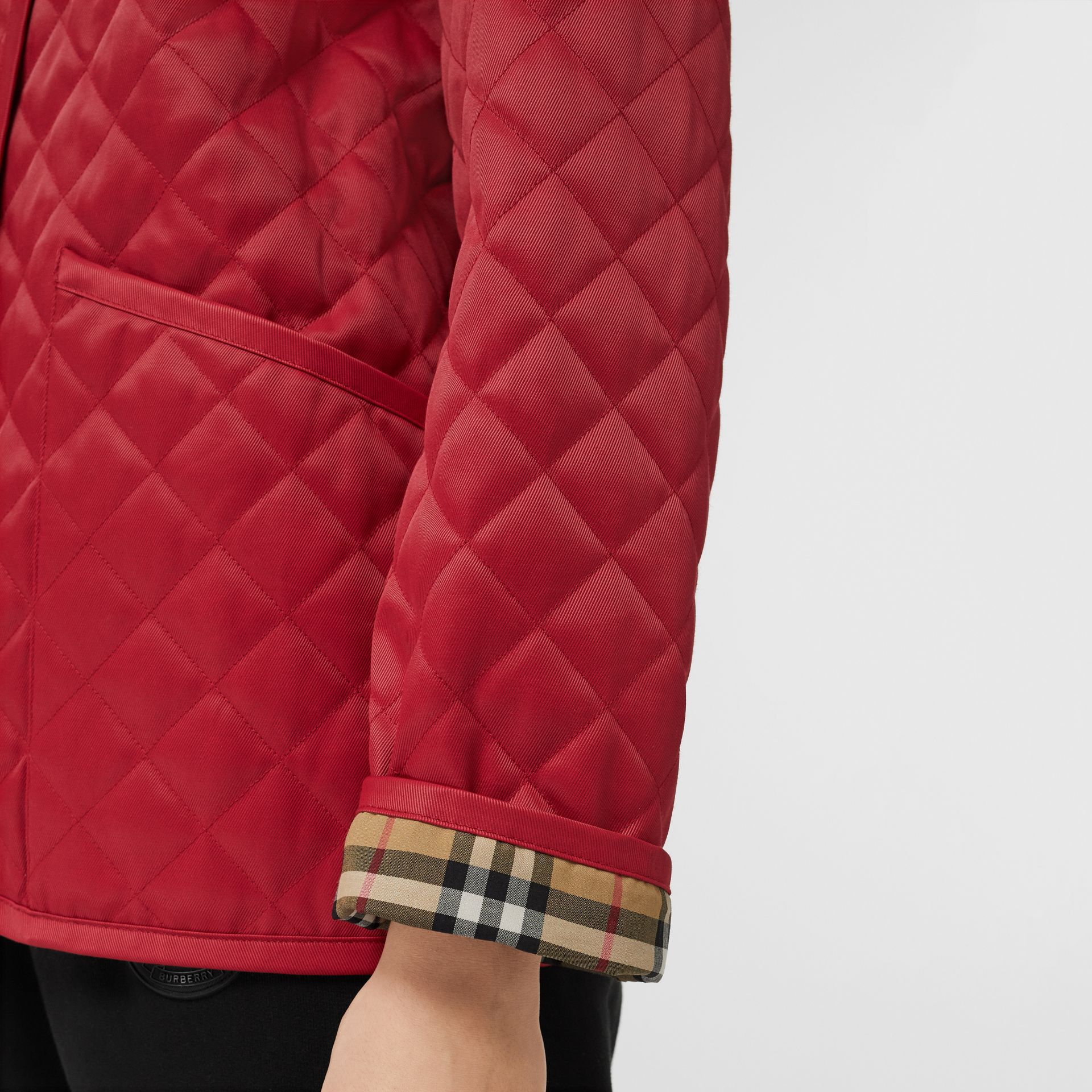 Diamond Quilted Barn Jacket in Red - Women | Burberry - gallery image 5