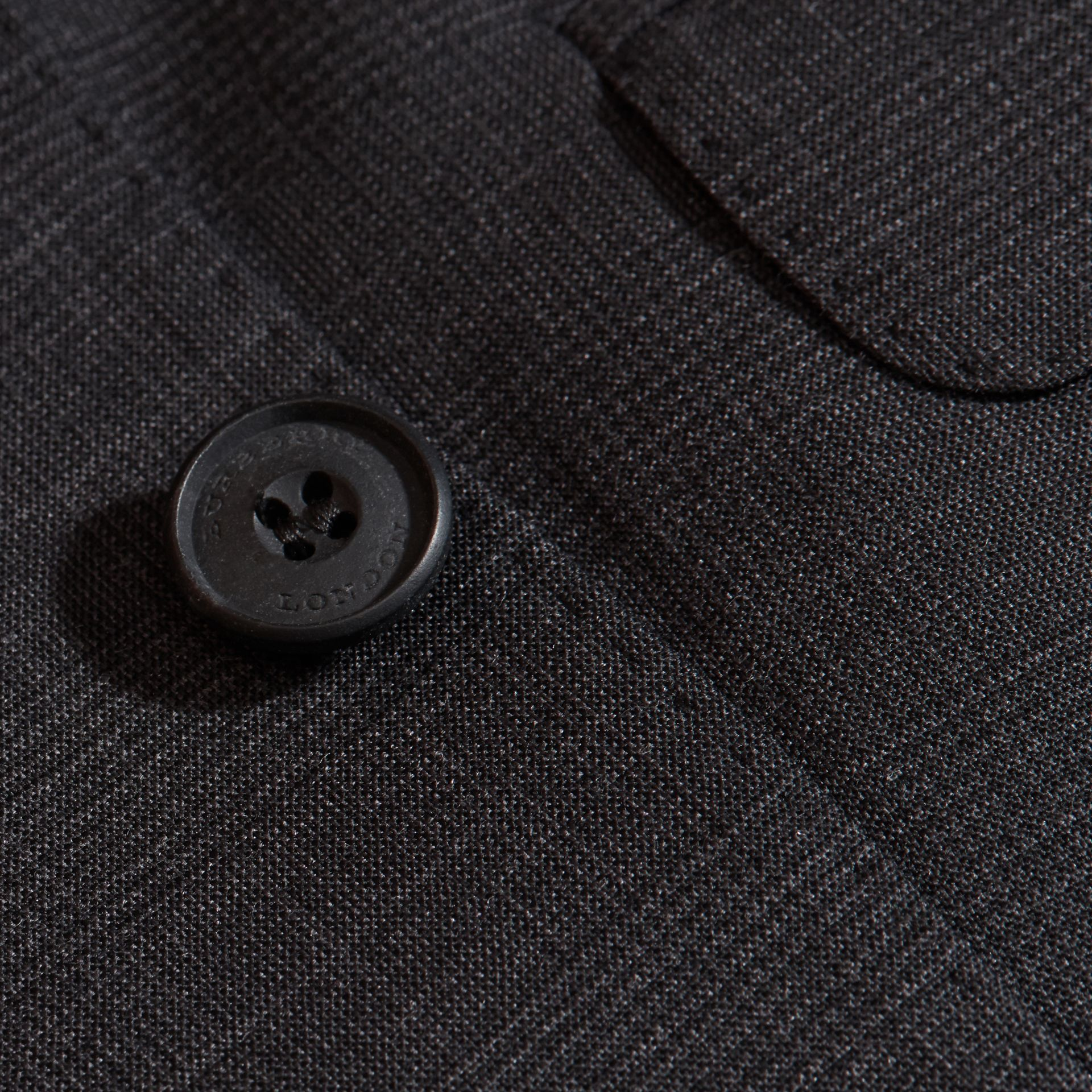 Charcoal Modern Fit Check Wool Part-canvas Suit Charcoal - gallery image 2