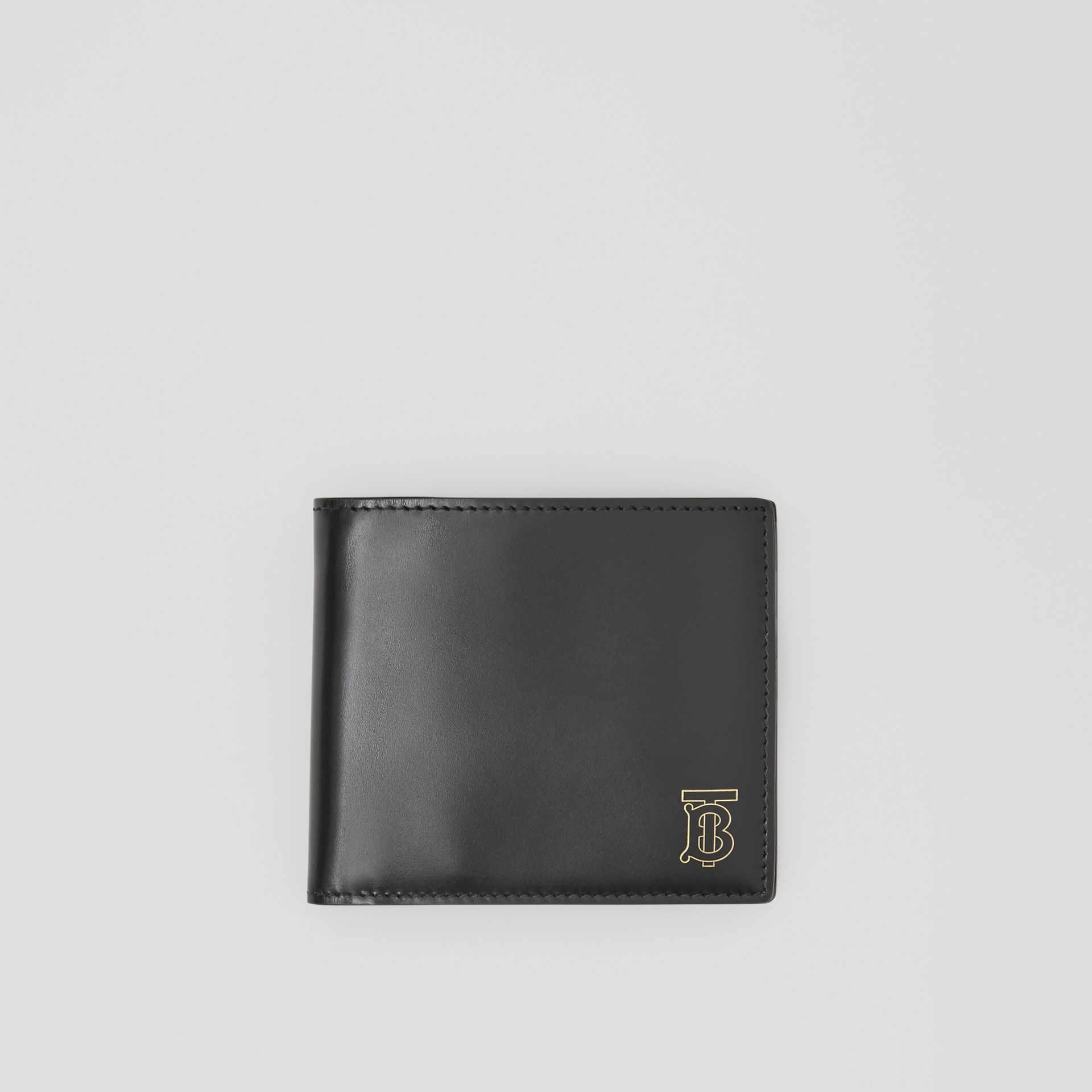 Monogram Motif Leather International Bifold Wallet in Black | Burberry United Kingdom - gallery image 0