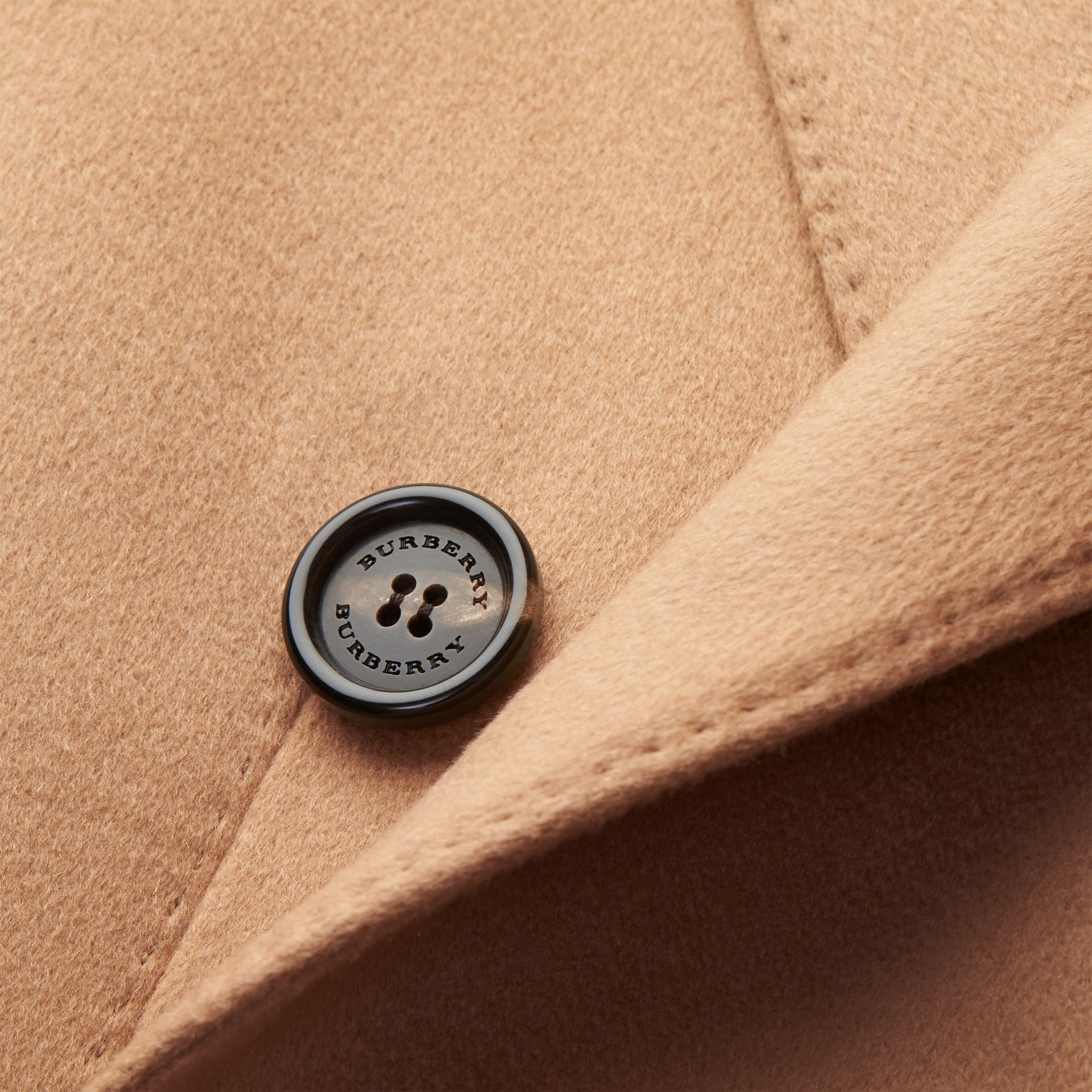 Camel Double-breasted Tailored Cashmere Coat - gallery image 2