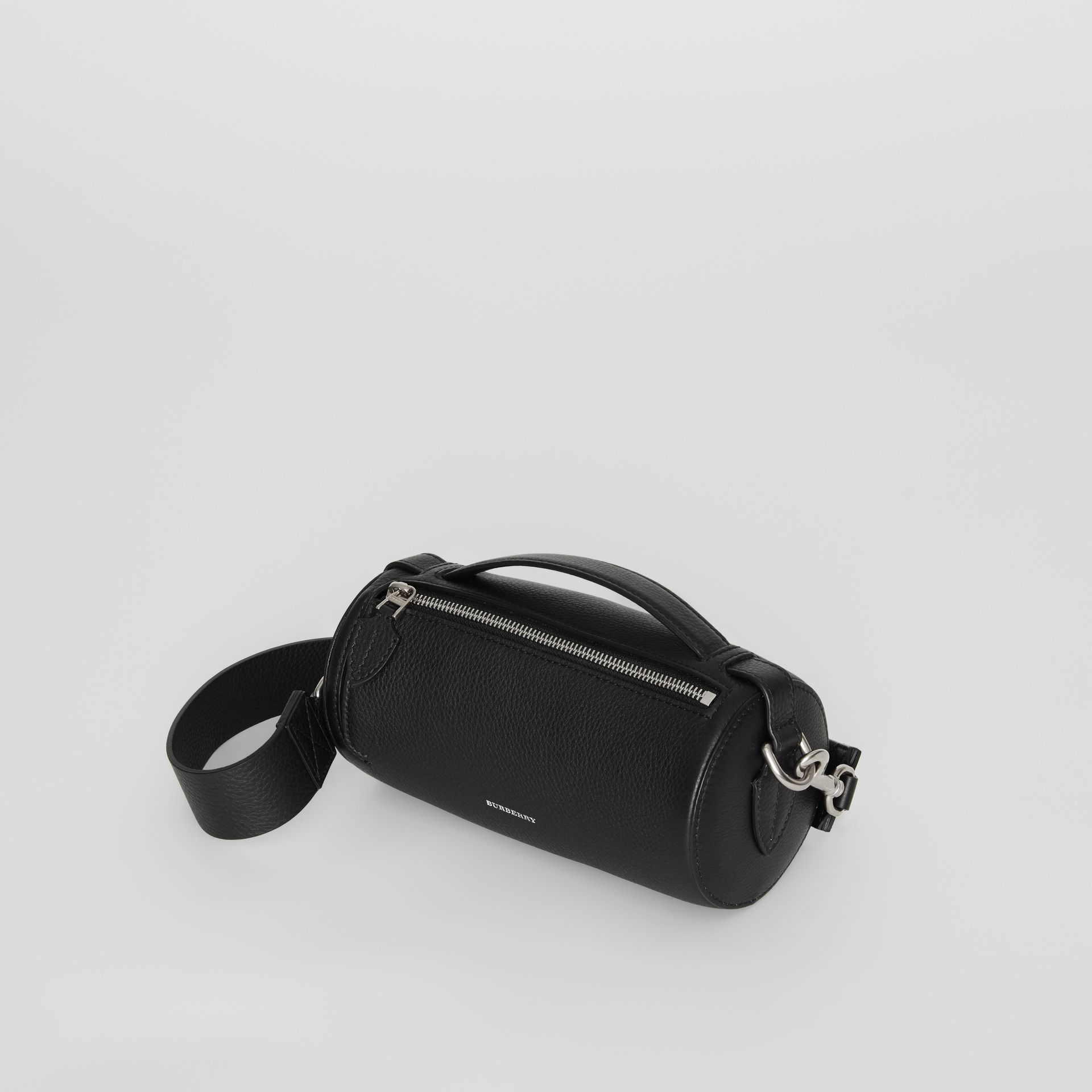 The Leather Barrel Bag in Black - Women | Burberry Australia - gallery image 4