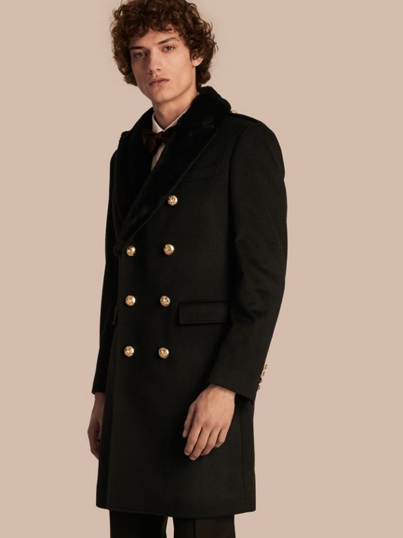 Regimental Cashmere Coat with Detachable Mink Collar