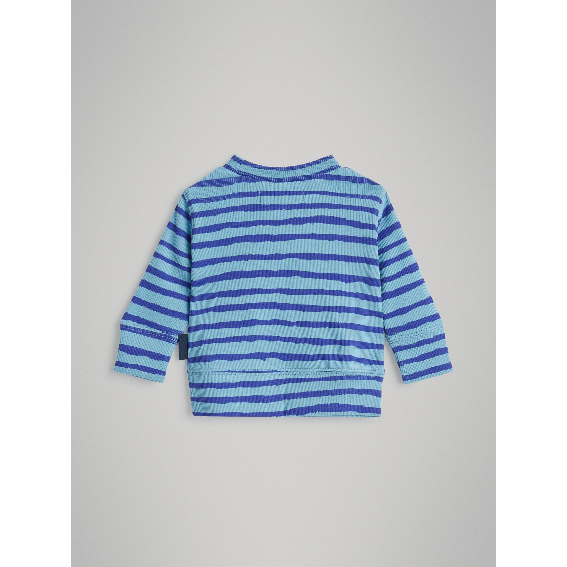 Striped Cotton Two-piece Baby Gift Set in Teal | Burberry - gallery image 3