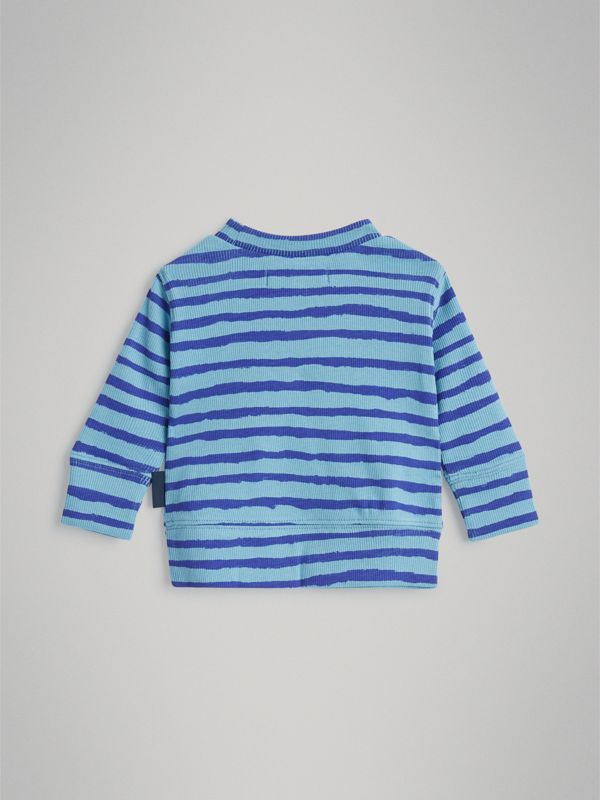Striped Cotton Two-piece Baby Gift Set in Teal - Children | Burberry Australia - cell image 3