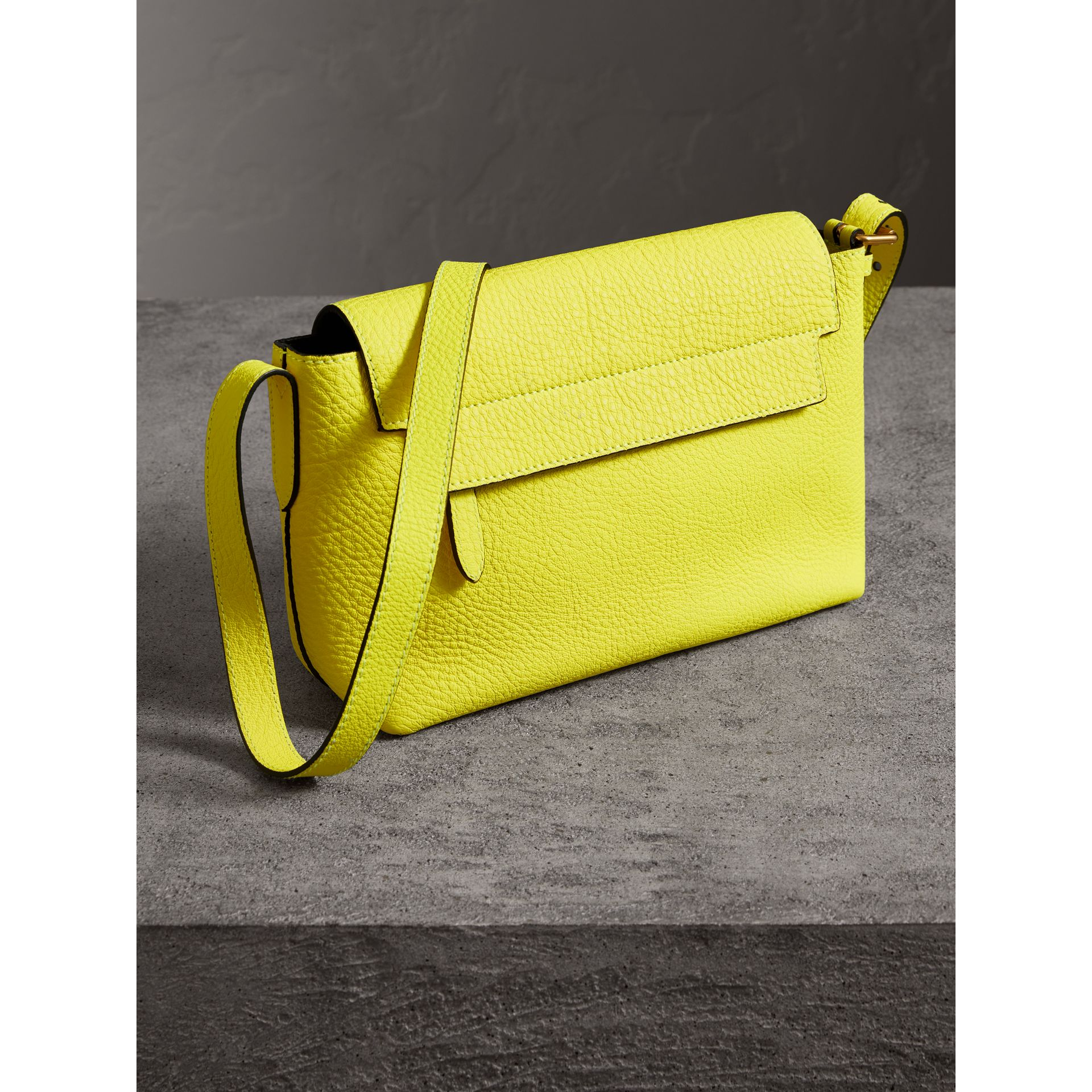 Small Embossed Neon Leather Messenger Bag in Yellow | Burberry - gallery image 6