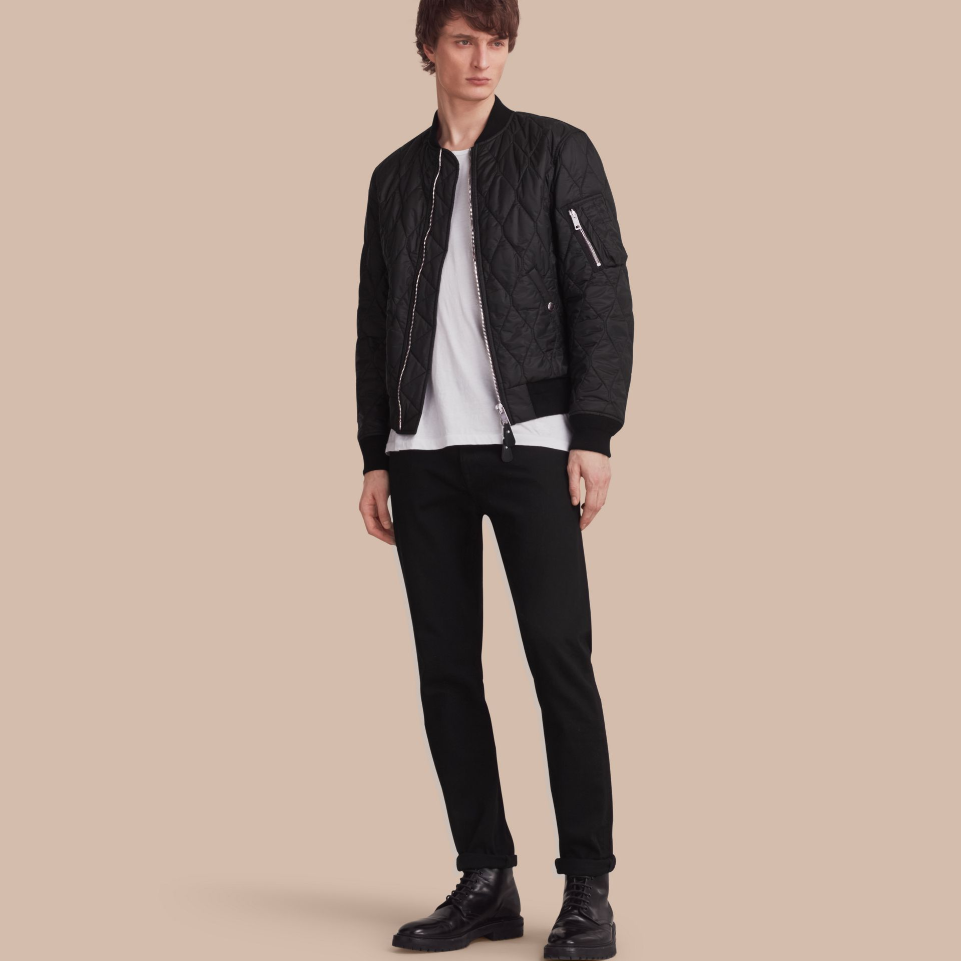 Black Lightweight Quilted Bomber Jacket - gallery image 1