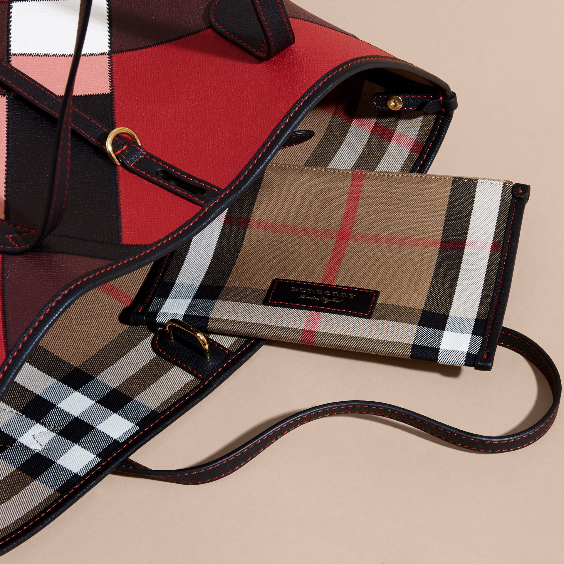 Medium Patchwork Grainy Leather Tote Bag in Pink - Women | Burberry Hong Kong - gallery image 5