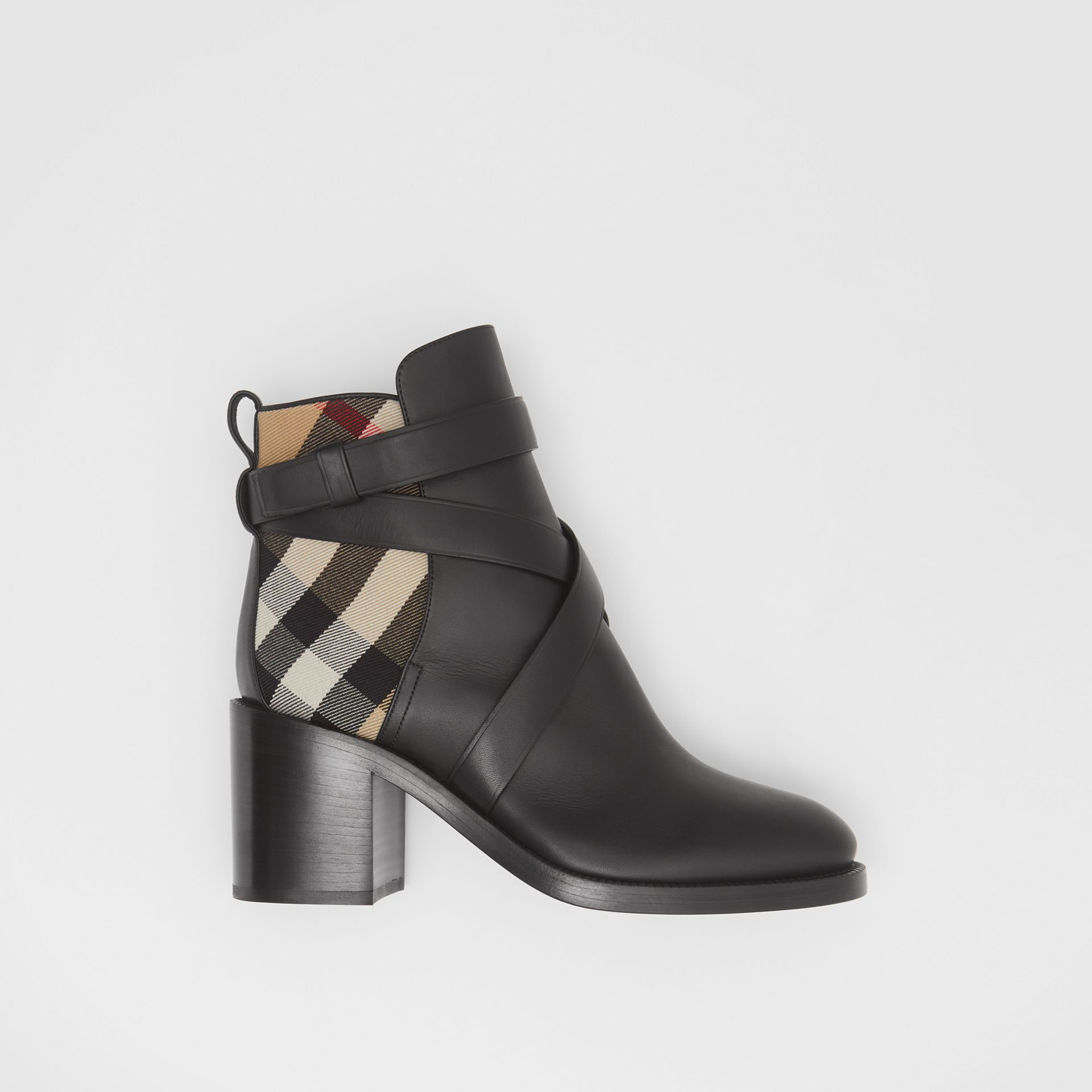 Vintage Check and Leather Ankle Boots in Black/archive Beige - Women | Burberry United Kingdom - gallery image 0