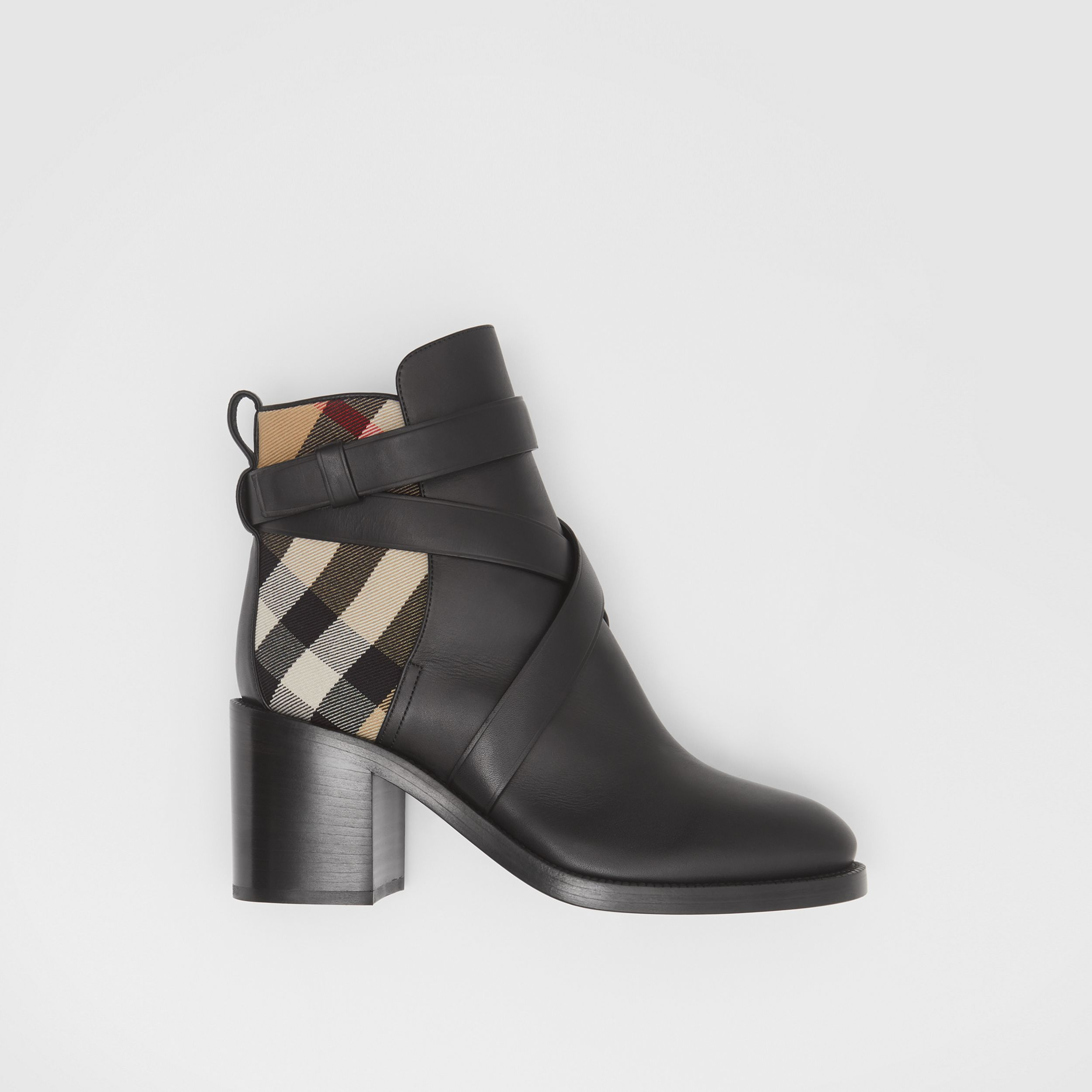 Vintage Check and Leather Ankle Boots in Black/archive Beige - Women | Burberry - 1