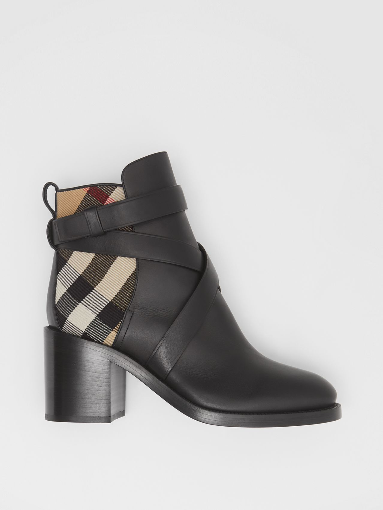Bottines en cuir et Vintage check in Noir/beige D'archive