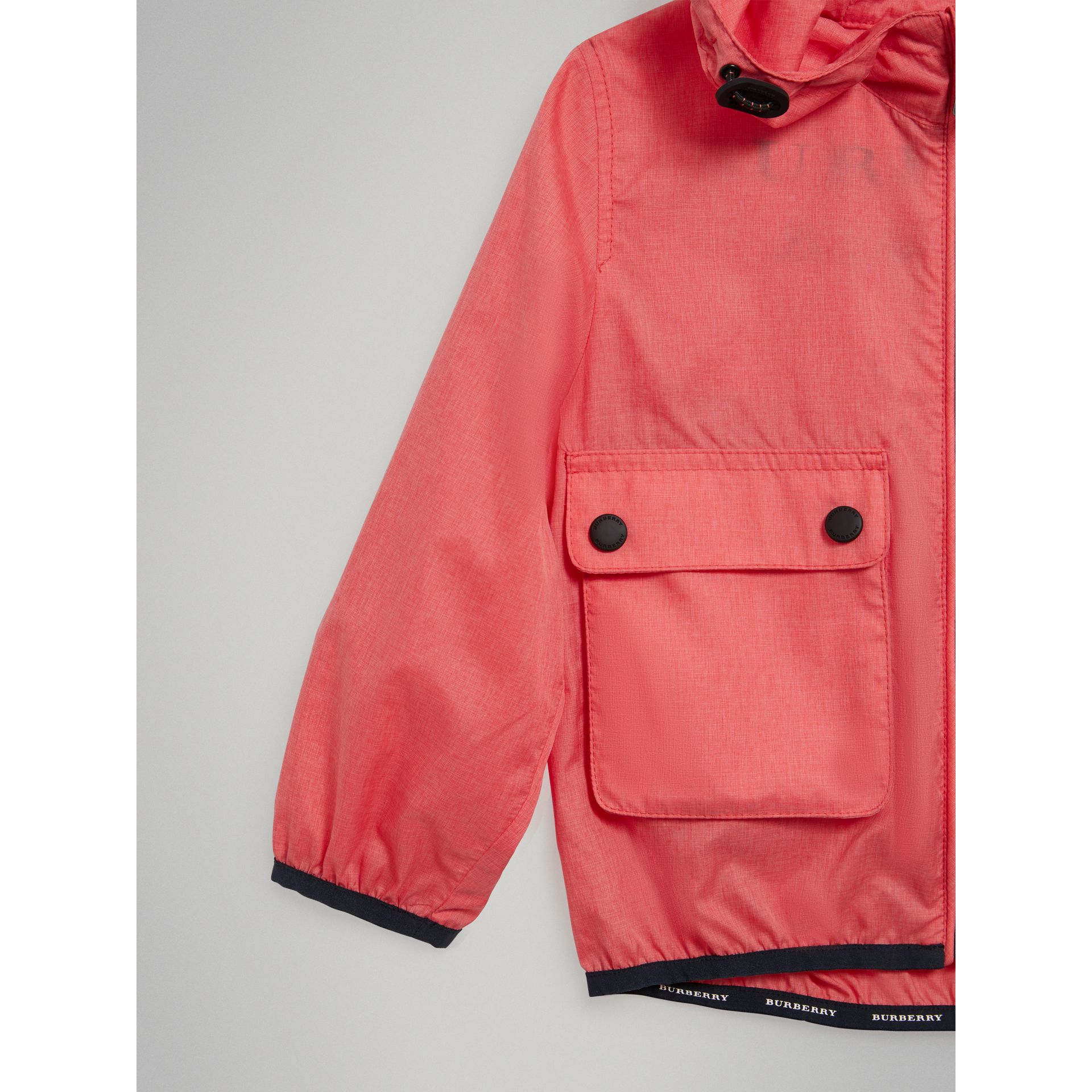 Showerproof Hooded Jacket in Bright Coral Pink - Girl | Burberry United States - gallery image 4