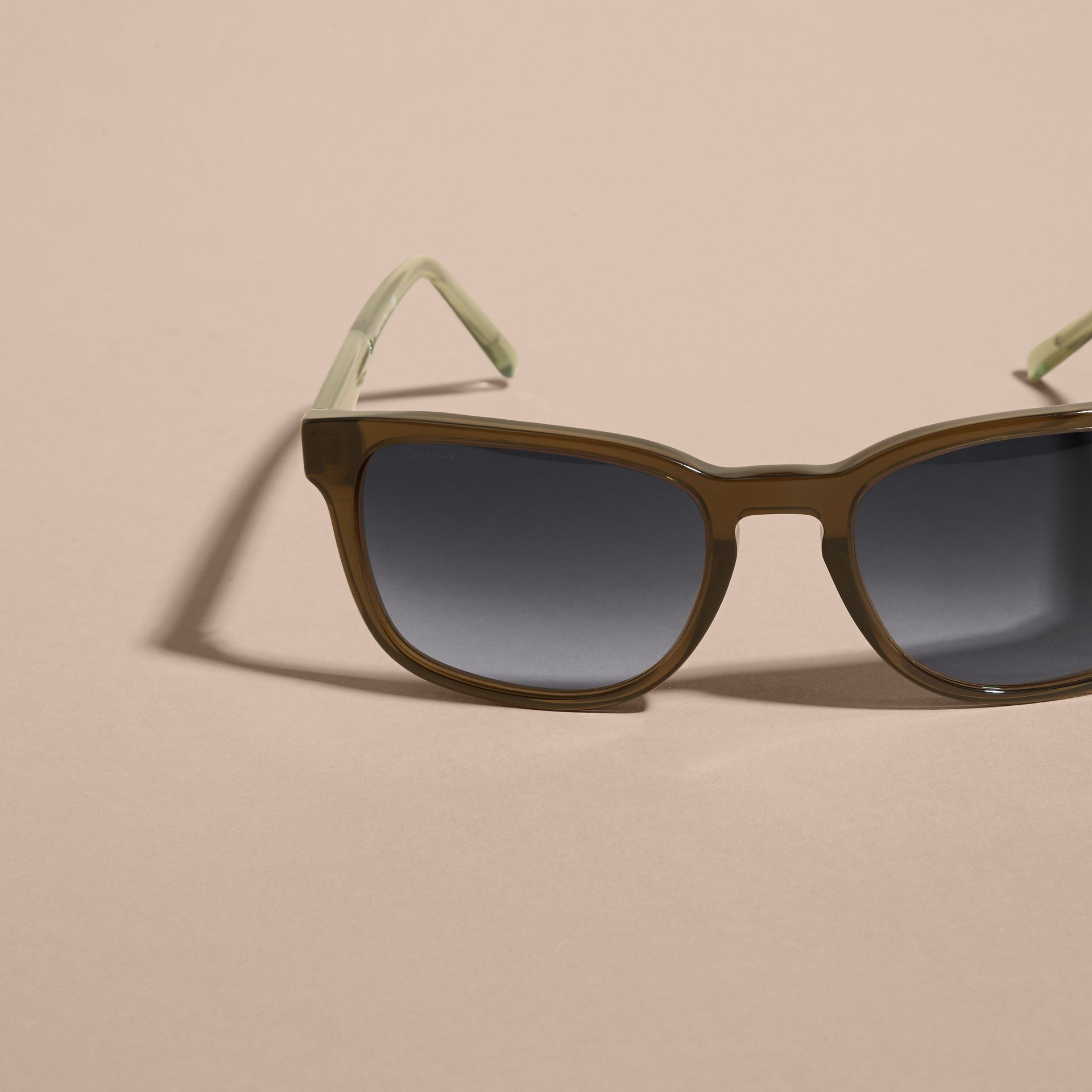 Check Detail Square Frame Sunglasses Olive - gallery image 3