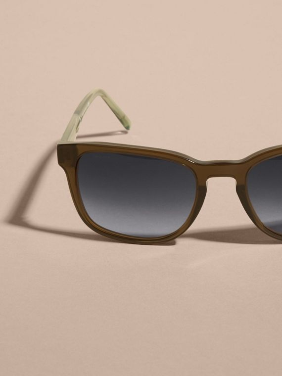 Check Detail Square Frame Sunglasses Olive - cell image 2