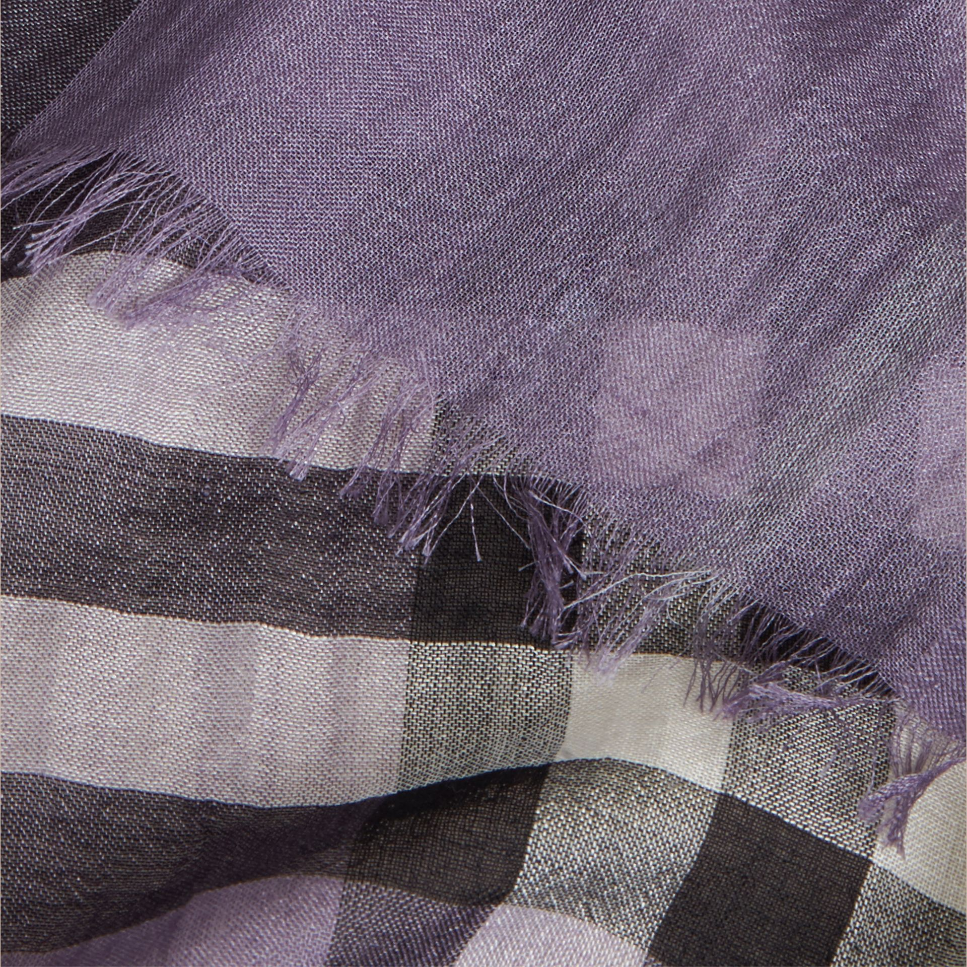 Lilac Lightweight Check Wool and Silk Scarf Lilac - gallery image 6