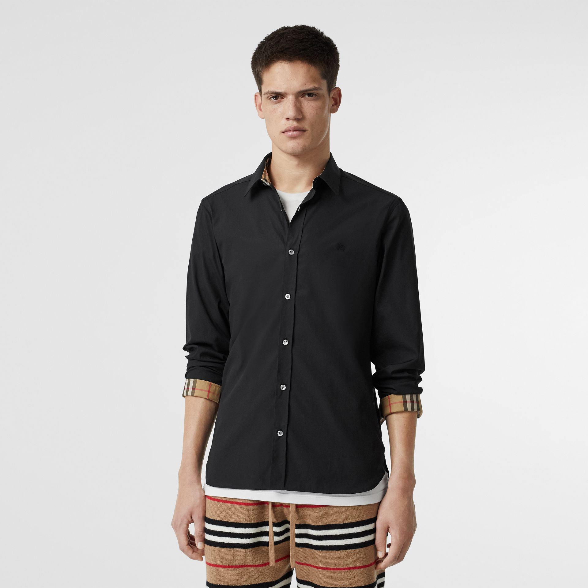Stretch Cotton Poplin Shirt in Black - Men | Burberry - gallery image 5