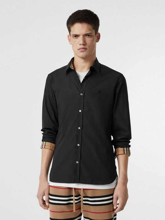 Stretch Cotton Poplin Shirt in Black
