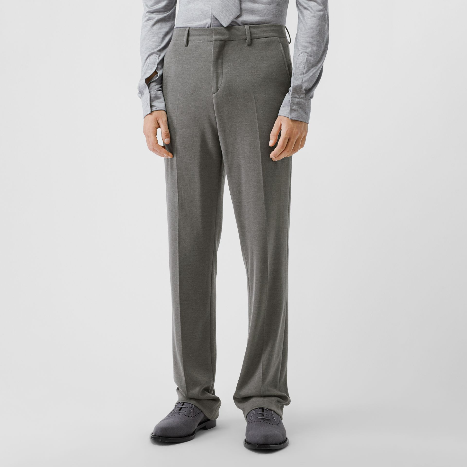 English Fit Cashmere Silk Jersey Tailored Trousers in Cloud Grey | Burberry - gallery image 4