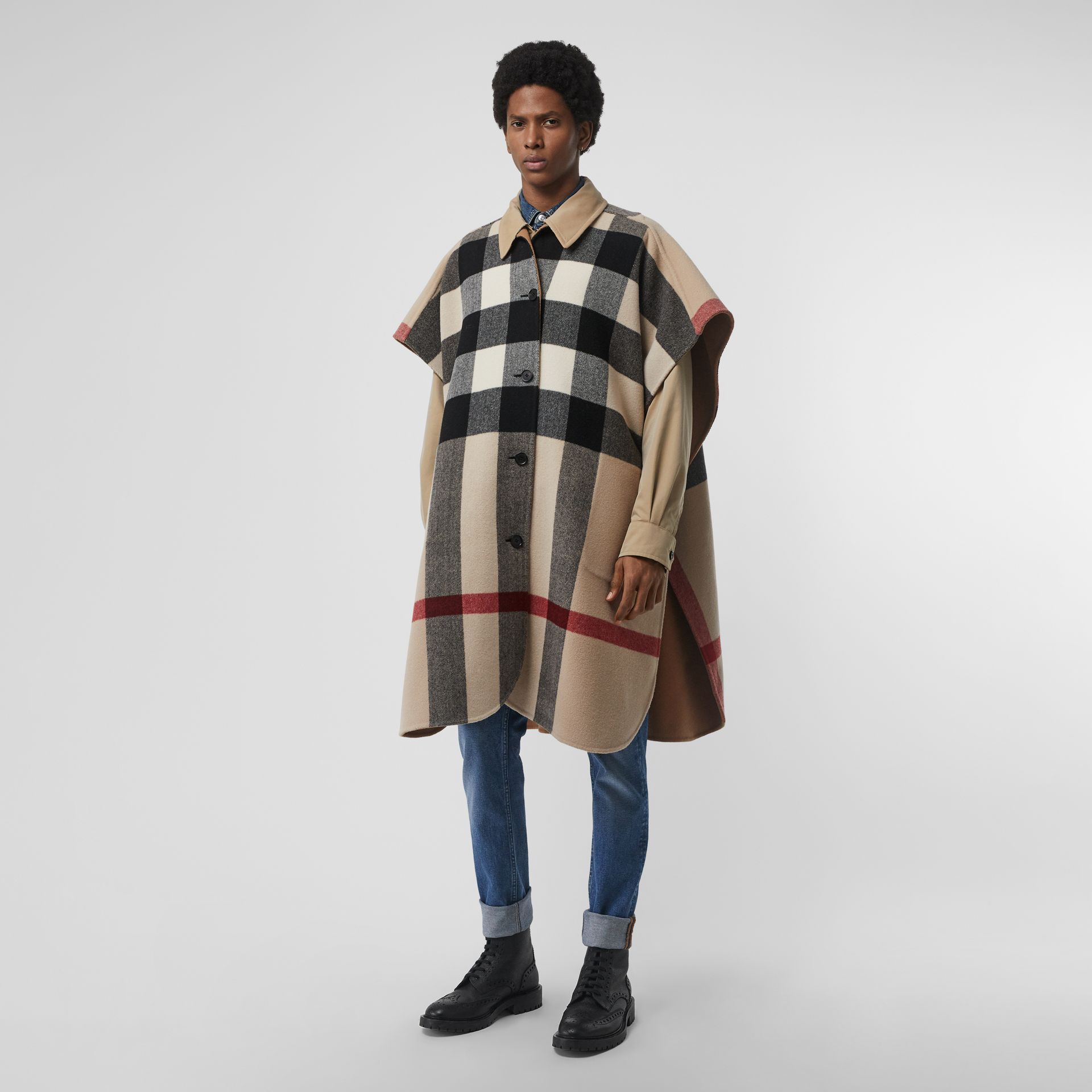 Reversible Check Wool Blend Poncho in Camel | Burberry Australia - gallery image 3