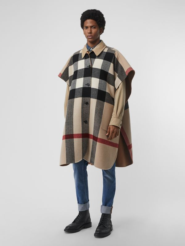 Reversible Check Wool Blend Poncho in Camel | Burberry - cell image 3
