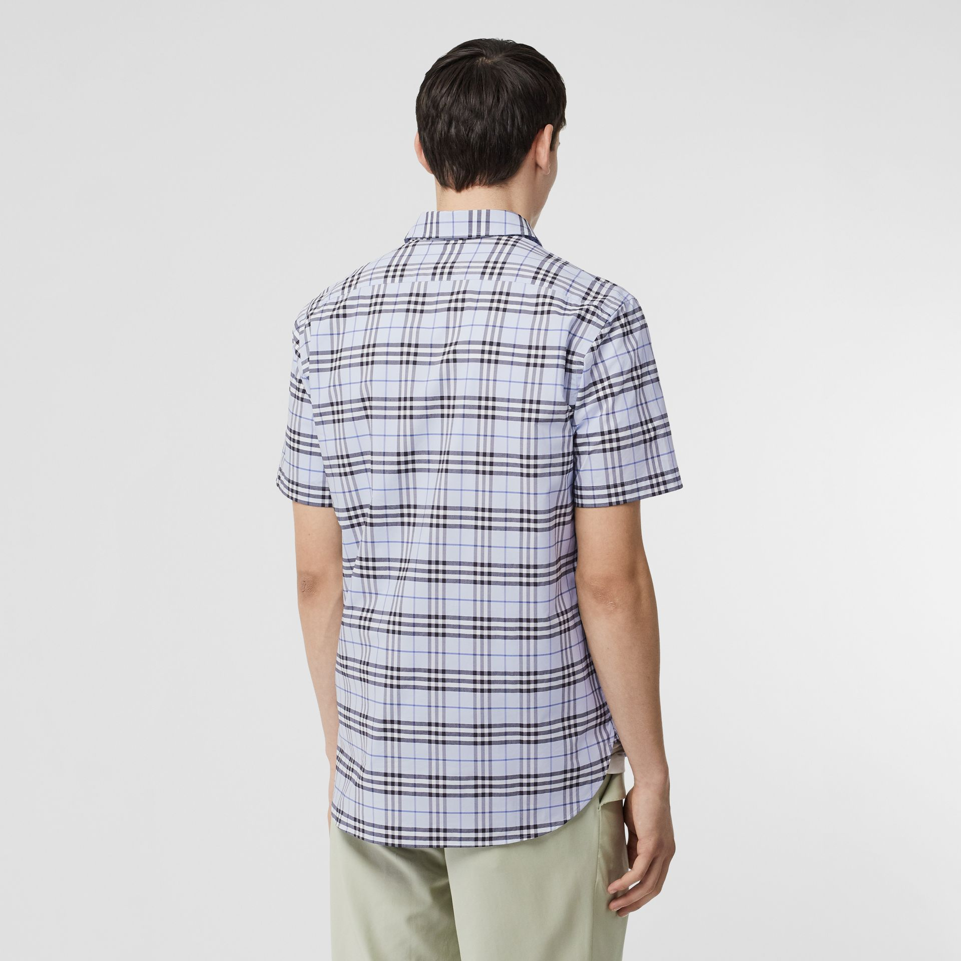 Short-sleeve Check Stretch Cotton Shirt in Sky Blue - Men | Burberry United Kingdom - gallery image 2
