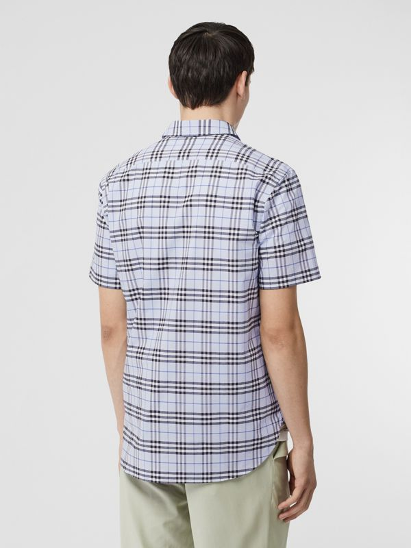 Short-sleeve Check Stretch Cotton Shirt in Sky Blue - Men | Burberry - cell image 2