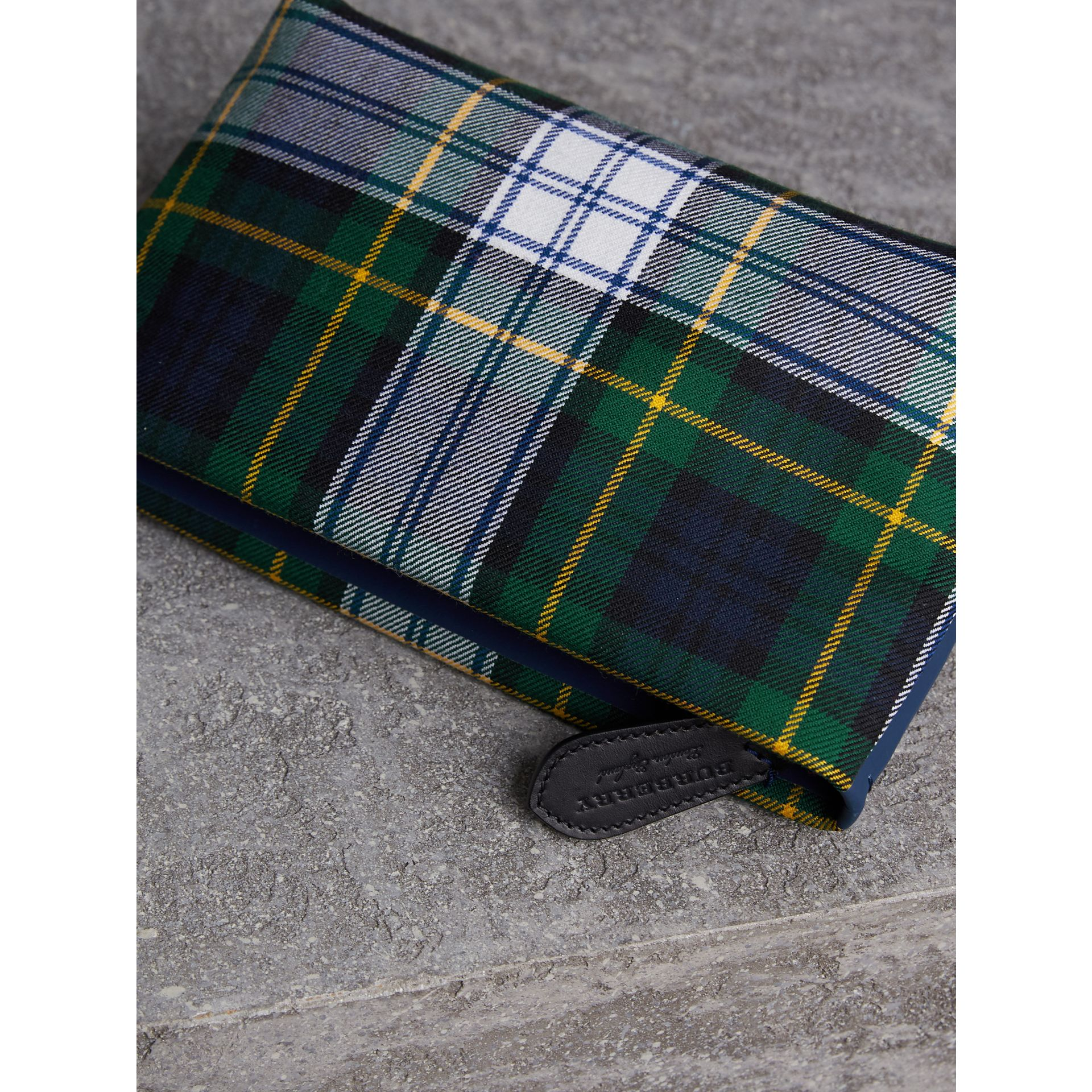 Tartan Cotton Clutch in Ink Blue/bright Yellow | Burberry Australia - gallery image 6