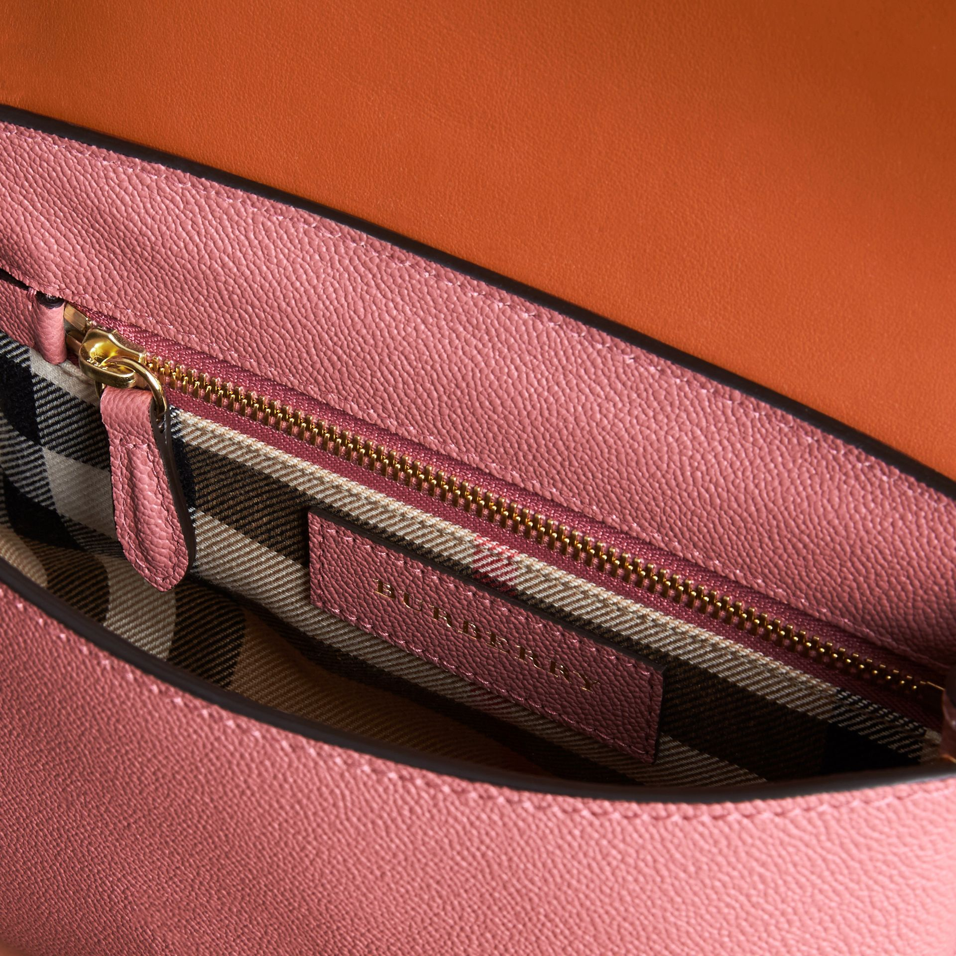 The Buckle Crossbody Bag in Trompe L'oeil Leather in Dusty Pink/bright Toffee - gallery image 5