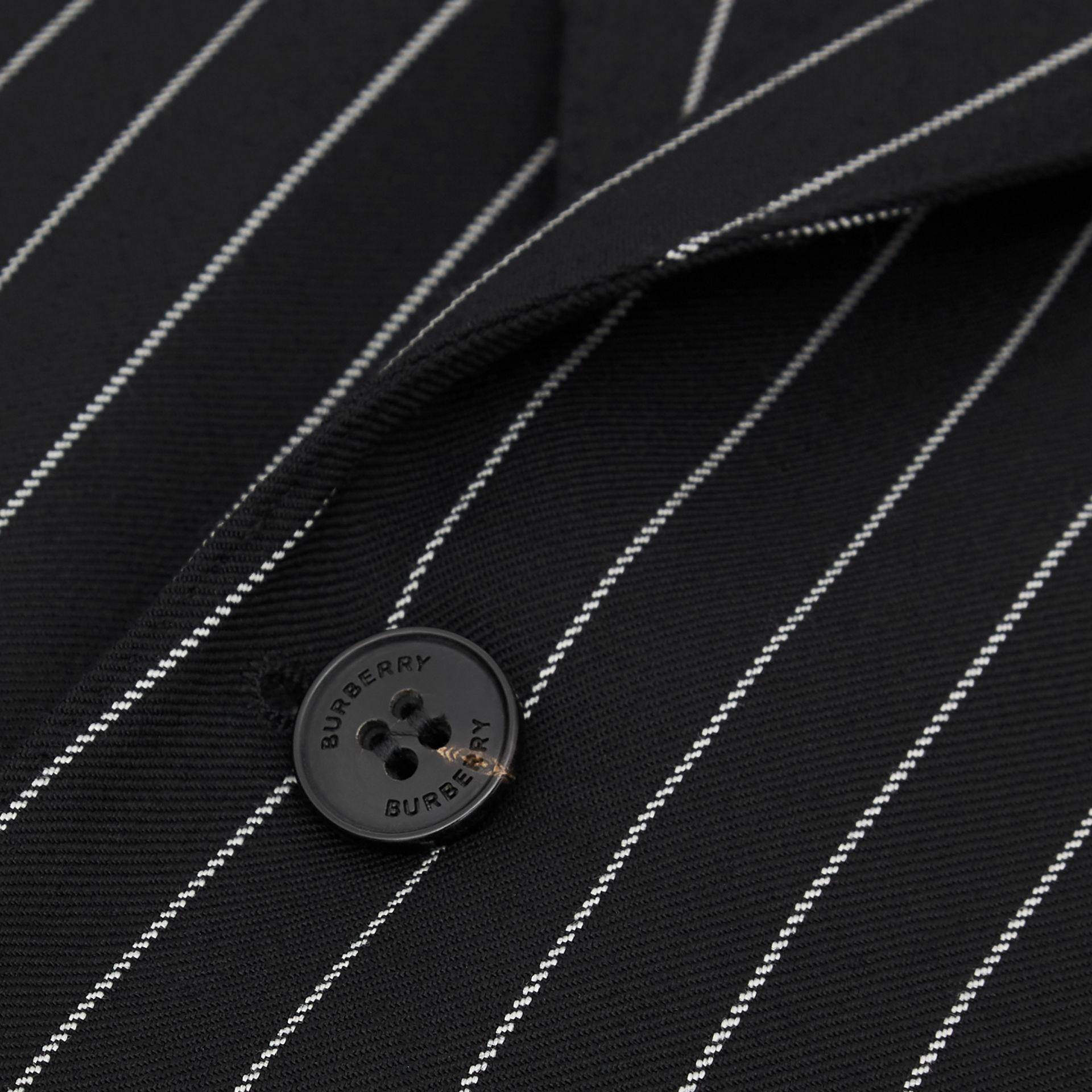 English Fit Pinstriped Wool Suit in Black - Men | Burberry Hong Kong - gallery image 7
