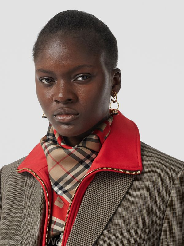 Horseferry Print Vintage Check Silk Square Scarf in Archive Beige | Burberry Canada - cell image 2