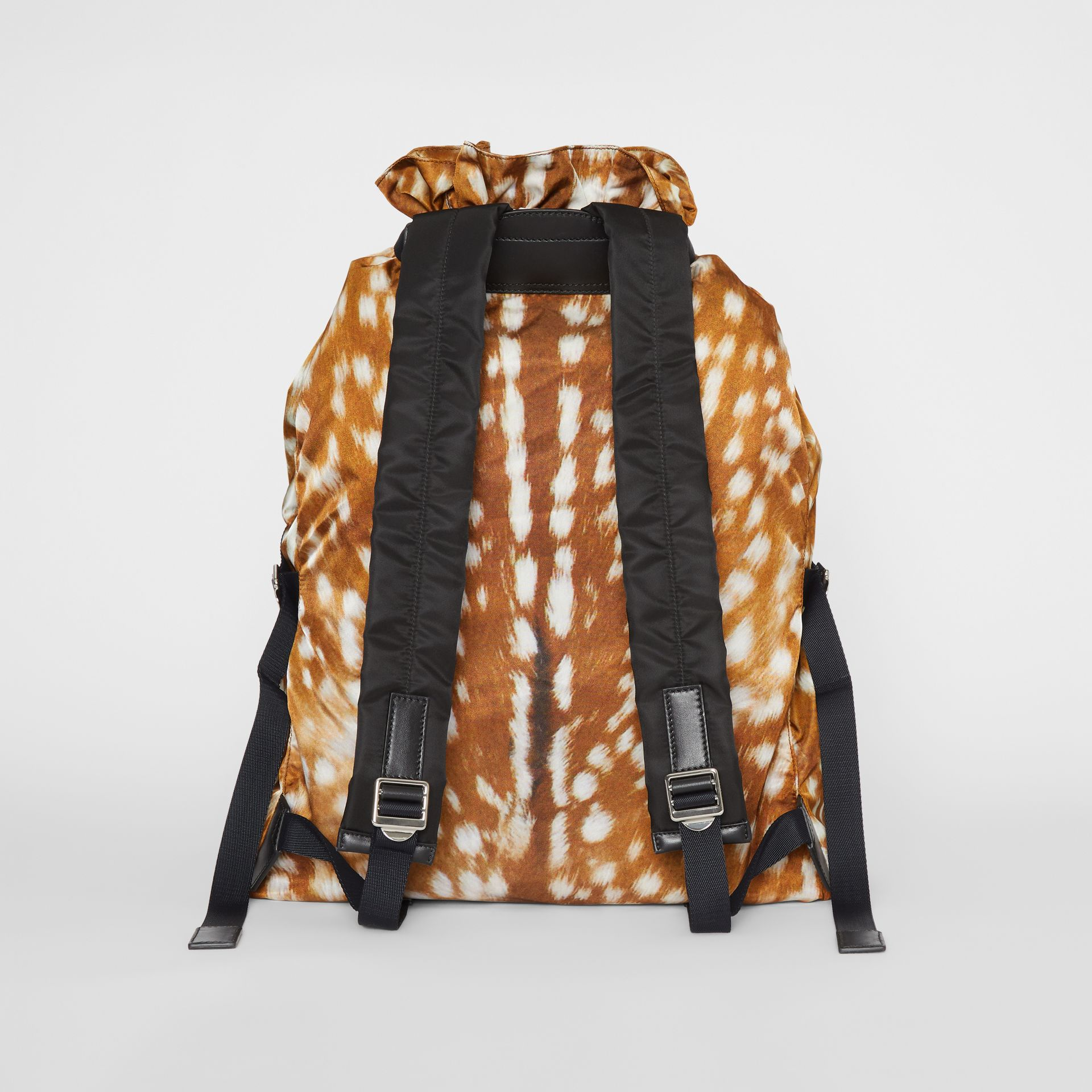 Deer Print Nylon Drawcord Backpack in Tan/white - Men | Burberry - gallery image 5