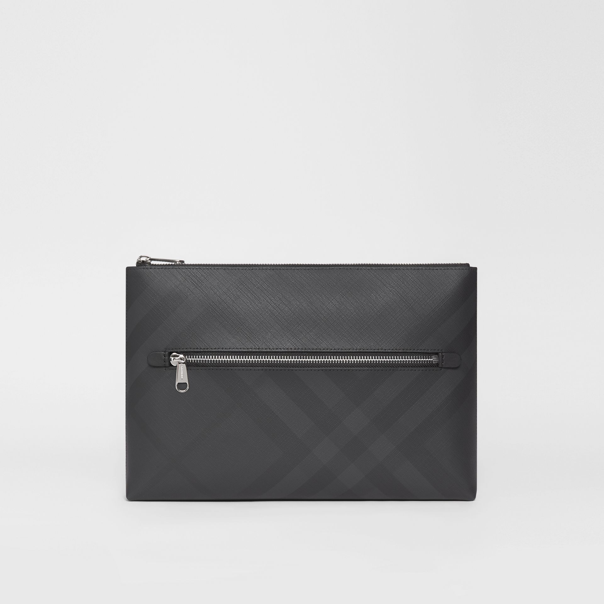 London Check Zip Pouch in Dark Charcoal | Burberry - gallery image 7