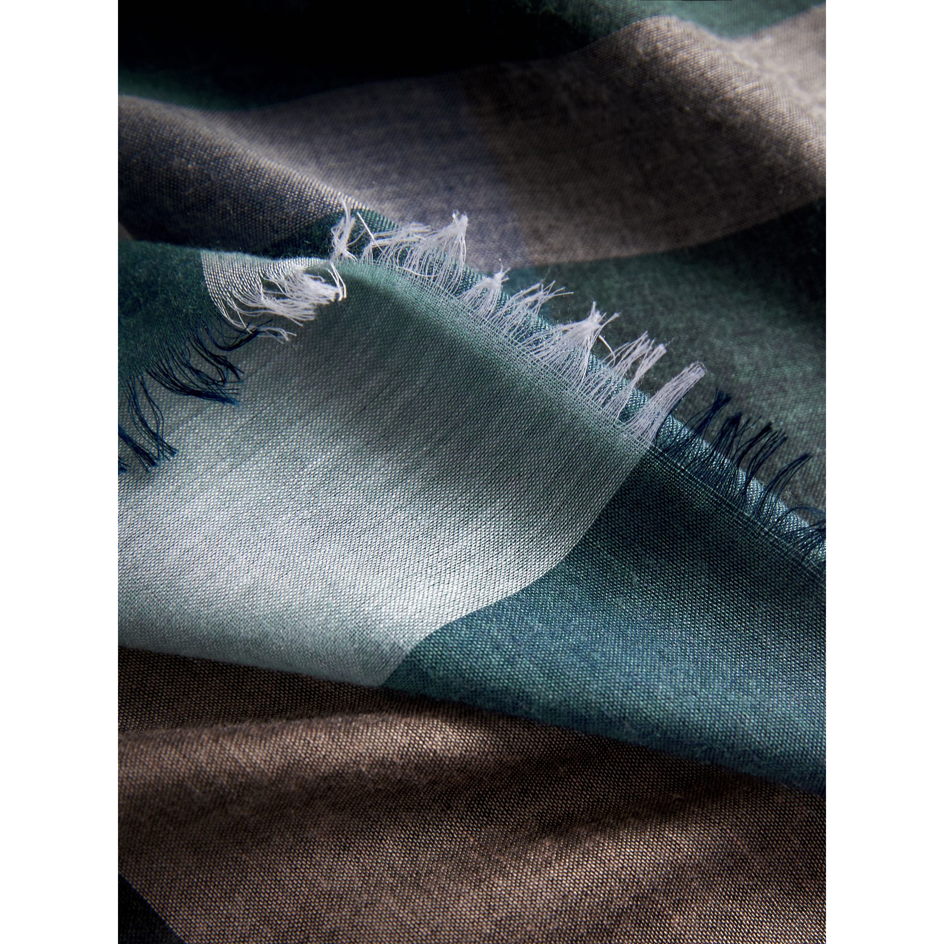 Check Modal and Wool Square Scarf in Slate Blue - Women | Burberry United States - gallery image 2