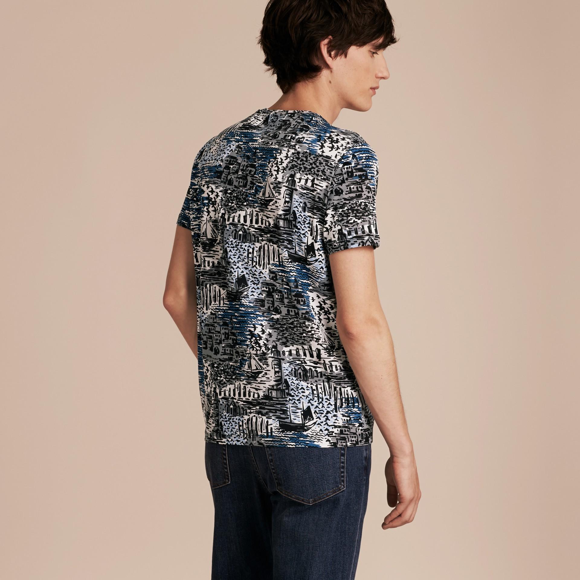British Seaside Print Cotton T-shirt Steel Blue - gallery image 3