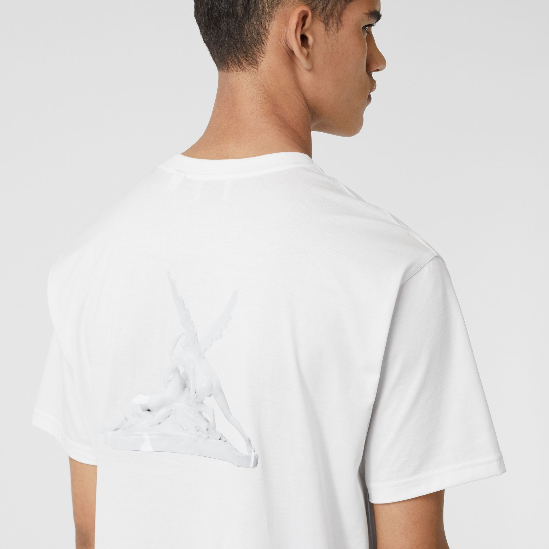 Cupid Print Cotton Oversized T-shirt in White - Men | Burberry - gallery image 4