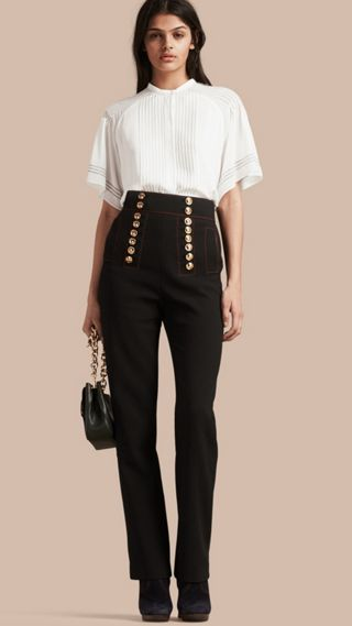 High-waist Stretch Military Trousers