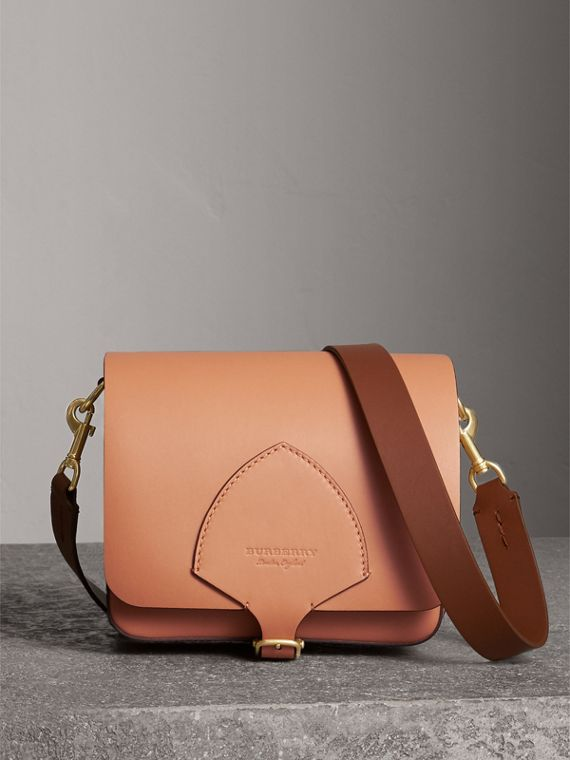 The Square Satchel aus Leder (Camelfarben)