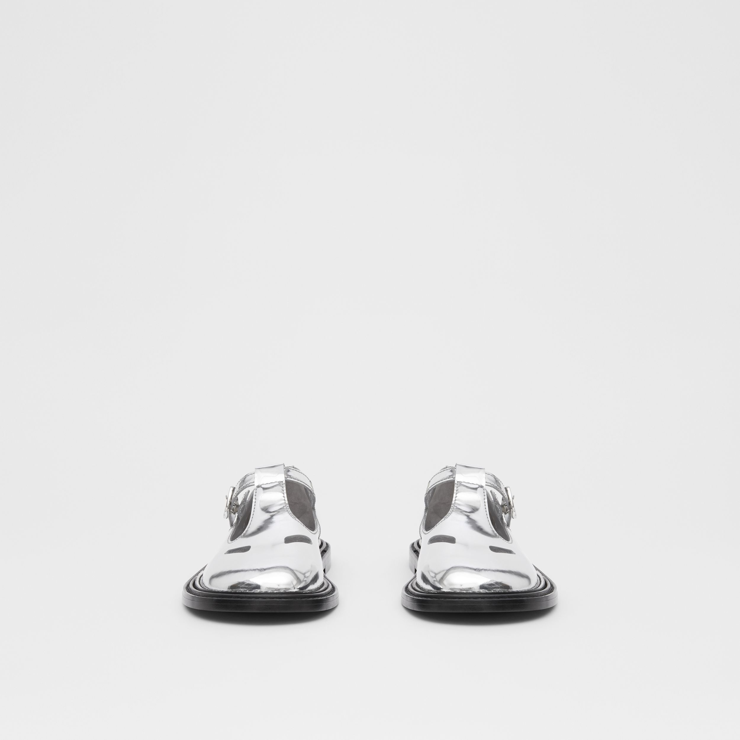 Metallic Patent Leather T-bar Shoes in Silver - Women | Burberry United Kingdom - 4