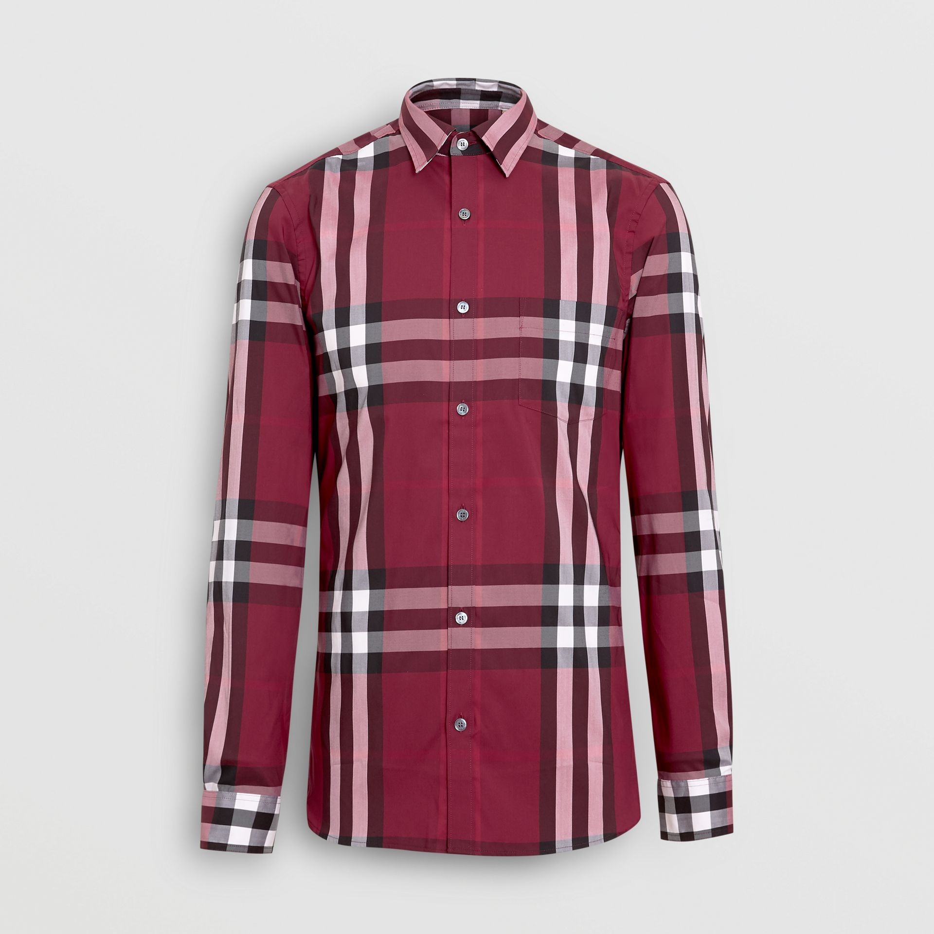 Check Stretch Cotton Shirt in Plum - Men | Burberry Canada - gallery image 3
