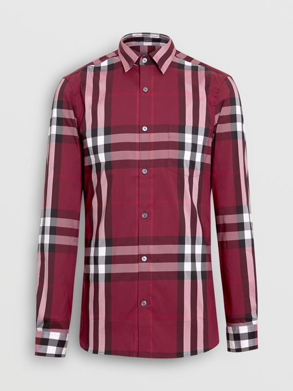 Check Stretch Cotton Shirt in Plum - Men | Burberry - cell image 3