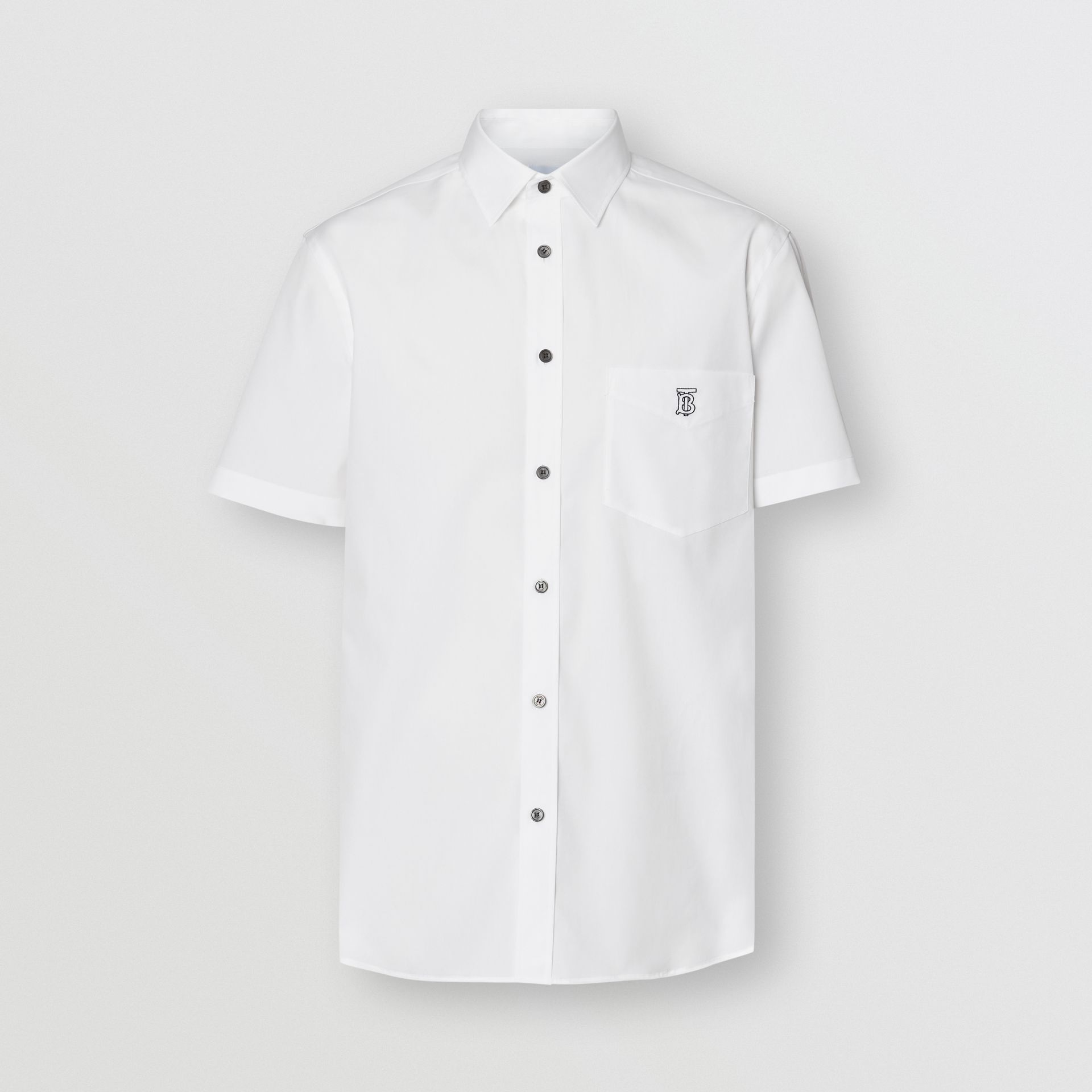 Short-sleeve Monogram Motif Stretch Cotton Shirt in White - Men | Burberry - gallery image 3