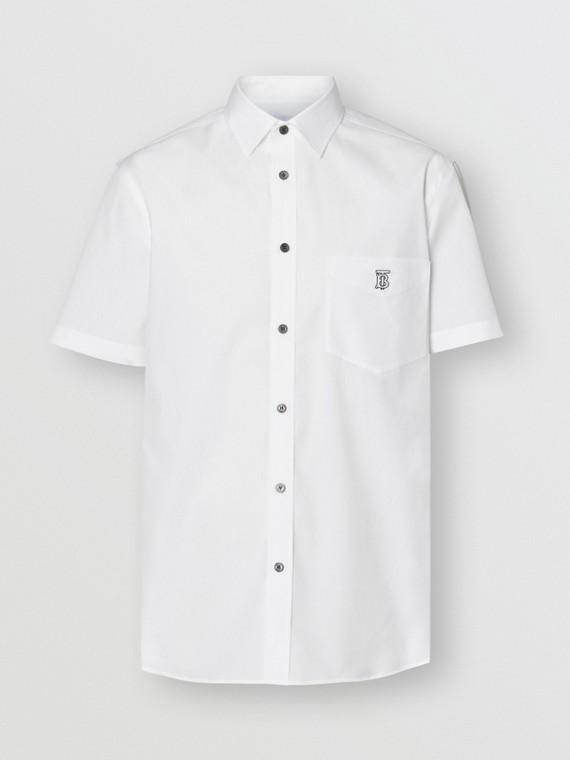 Kurzärmeliges Hemd aus Stretchbaumwolle mit Monogrammmotiv (Weiss)