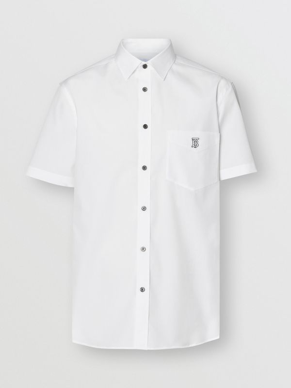 Short-sleeve Monogram Motif Stretch Cotton Shirt in White - Men | Burberry - cell image 3