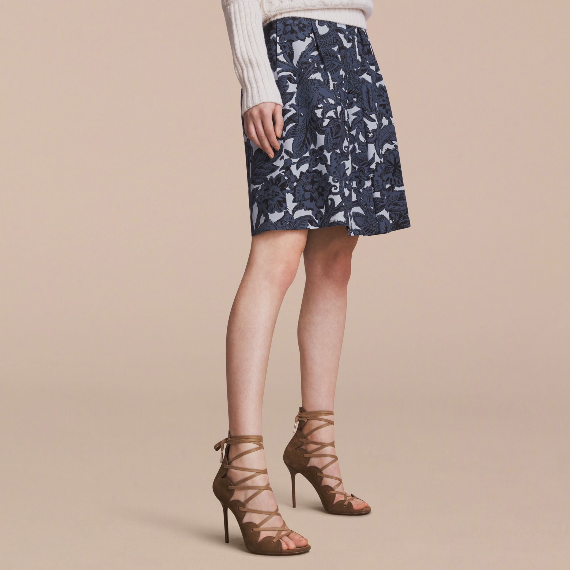 Beasts Print Silk Skirt in Stone Blue - Women | Burberry - gallery image 5