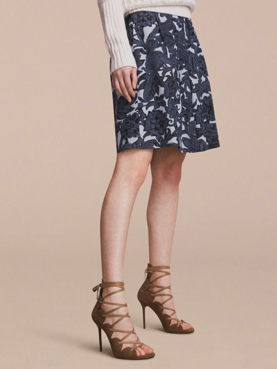 Beasts Print Silk Skirt in Stone Blue