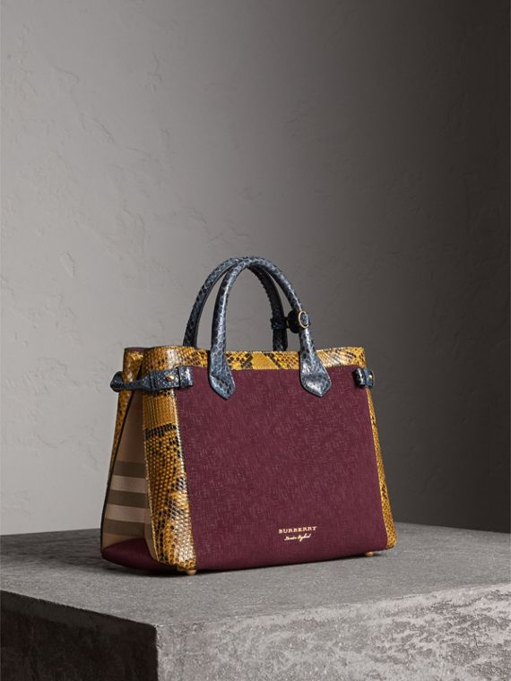 The Medium Banner in Leather, Python and House Check in Elderberry - Women | Burberry
