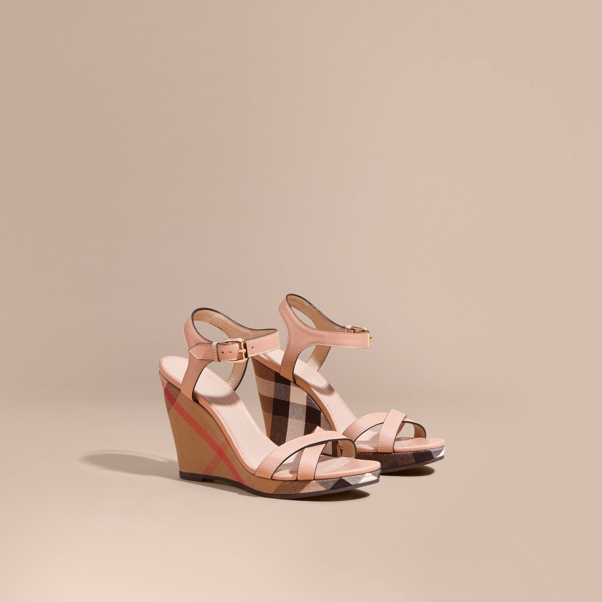 Nude blush House Check Detail Leather Wedge Sandals - gallery image 1